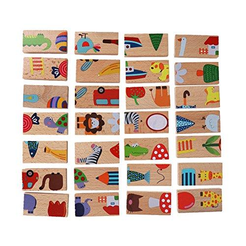 28 Stücke Gebäude Domino Blöcke Set Tier Farbige Holzpuzzle Frühe Pädagogische Spielzeug für Kinder