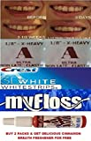 Orthodontic Gap Teeth Bands 1/8 Extra Heavy (MAX Pull) with Floss & WHITENING Strips ONE Pack
