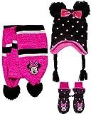 Disney Girls' Insulated Snow Glove Set – Minnie Mouse or Frozen Winter Hat, Scarf, and Mitten or Gloves (Toddler/Little Kid), Size Age 2-4, Minnie Mitten