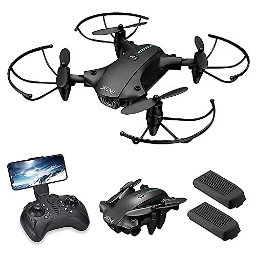 rzoizwko Drone, GPS Drone para Adultos con cámara 4K FPV Video en Vivo para Principiantes, Quadcopter RC Plegable con Retorno automático a casa, Sígueme, Cámaras duales, 2 baterías, Incluye Estuche d