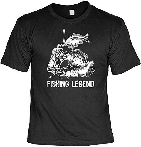 Angler T-Shirt Fishing Legend Angel Fun Shirt Geburtstag Geschenk geil Bedruckt mit Angler Urkunde