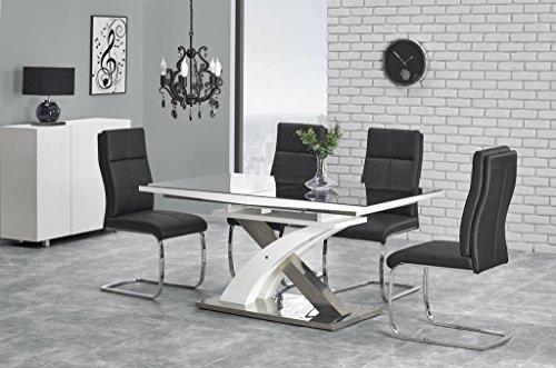 Sandor 2 160-220cm Black Glass & White High Gloss Modern Extendable Dining Table