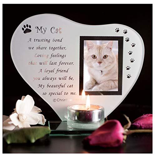 My Cat - Inspirationeel gedicht, kaars en fotohouder glazen gedenkplaat