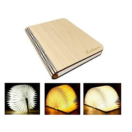YAOJU Hölzerne faltende Buch-Lampe, Dekorative Lampe, Magnetisches LED-Licht, Tabelle/Schreibtisch-Lampe mit Akku 2000 mAh,Papier mit USB-Kabel,Ideal für Geschenk((21,5 x 17,5 x 2,5 cm)