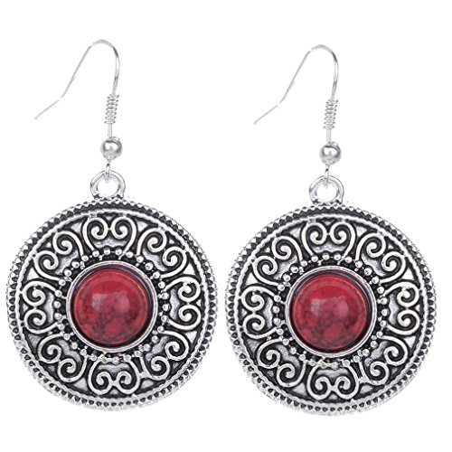Yazilind vendimia de plata tibetana redondo rojo Resina relieve cuelga