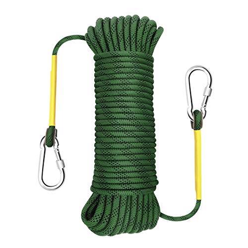 Gonex Static Climbing Rope, 8mm Safety High Strength Tree Climbing Rappelling Rope Indoor Gym Outdoor Hiking Magnet Fishing Fire Escape Rope 64ft Green