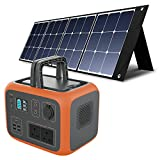 PowerOak Bluetti AC50S 500Wh Portable Power Station with 1 Pcs 120W Solar Panel, Solar Generator with AC/DC/USB Output, Home Outdoor Backup Power with Lithium Battery for Camping Campervan RV