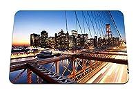 22cmx18cm マウスパッド (ニューヨークサンセットブリッジ高層ビル桟橋ライト) パターンカスタムの マウスパッド