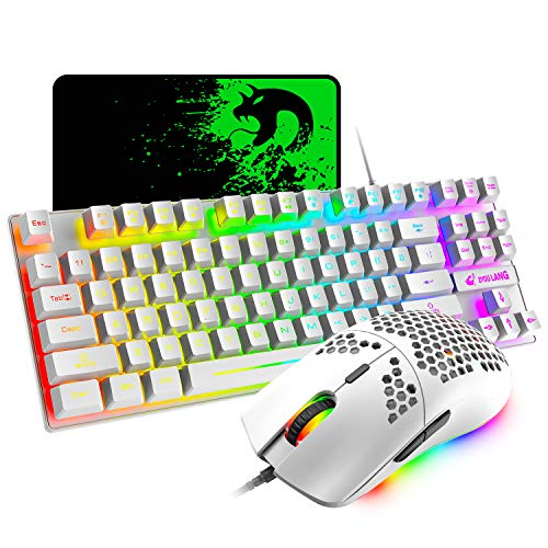 RGB Gaming Keyboard and Mouse Combo, 87 Keys USB Wired Rainbow Keyboard and Lightweight Gaming Mouse, 6400 DPI Adjustable, 6 Programmed Buttons, for Laptop PC Computer Game and Work