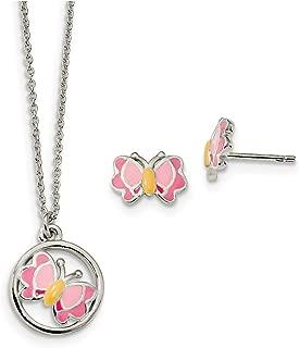 Lex & Lu Sterling Silver Polished Enameled Butterfly Earrings & Necklace Set