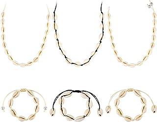 Collar de Conchas 6pcs Pulsera de Conchas Tobillera Gargantilla con Cuerda Ajustable Hecho a Mano para Vacaciones a la Playa para Mujeres, Chicas, Niñas