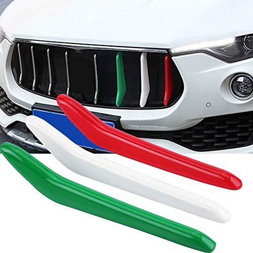Tiras de parrilla delantera para coche, molduras para rejilla, decoración 3D para Maserati Levante 2017-2018, 3 piezas, para parrilla, para coche, brillante, para parrilla