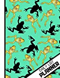 DAILY LIST PLANNER: 'Striking Black and Gold Frogs' Pattern Novelty Tasks Gift: Frog Daily List Planner for Teens, Men and Women