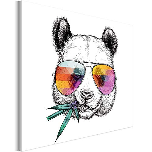 Revolio 40x30 cm Leinwandbild Wandbilder Wohnzimmer Modern Kunstdruck Design Wanddekoration Deko Bild auf Leinwand Bilder 1 Teilig - Panda Sonnenbrille Grafik schwarz-Weiss