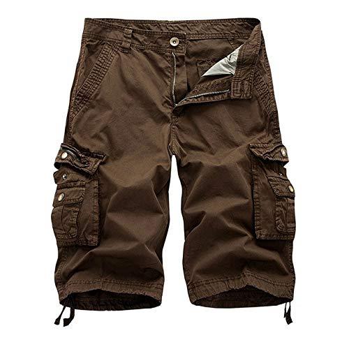 hezeyang Pantalones cortos sueltos de verano con múltiples bolsillos, color sólido