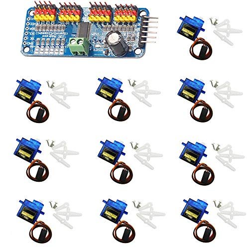KingBra 10pcs SG90 9g Micro Servo Motor for Airplane Helicopter RC Robot Boat Controls & 1pc PCA9685 16 Channel Servo Motor Driver Module Controller for Arduino Module Board