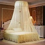 WUANNI Mosquiteras para Camas Anti-Insectos Mosquitero,Elegante Cama de Encaje con Dosel de mosquitera Amarillo mosquitera