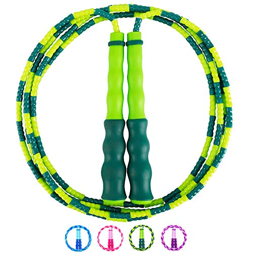 Amble Jump Rope Soft Beaded Segment Jump Rope - Adjustable for Men, Women and Kids - Tangle-Free for Keeping Fit, Training, Workout and so on - 9 Feet (Green)