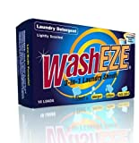 WashEZE (Laundry Detergent) 40 Sheets/Loads Light Scent Includes Detergent Fabric Softener Stain Lifter and Static Guard All in One Laundry Detergent Solution
