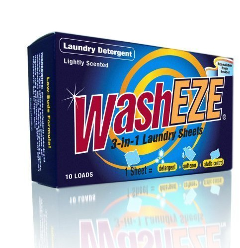 WashEZE Laundry Detergent 40 Sheets/Loads Light Scent Includes Detergent Fabric Softener Stain Lifter and Static Guard All in One Laundry Detergent Solution