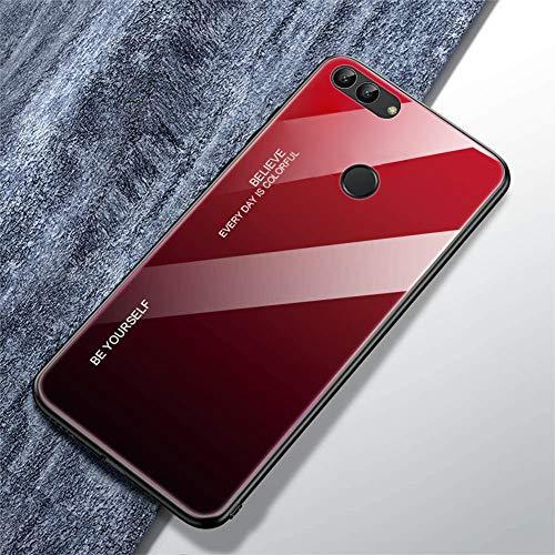 Urhause Compatible con Funda Huawei P Smart Carcasa Trasera Case Vidrio Templado Degradado Color Cubierta Ultradelgado Anti-Rasguño Funda Protección 360 Grados Rígido Dura Bumper,Negro Rojo