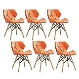 ZYXF Set De 6 Nórdico Silla Comedor Taburete Natural Madera Patas Y Cuero PU Cómodo Cojín Cómodo Mariposa Respaldo Diseño for Restaurante Oficina Sala Estar (Color : Orange)