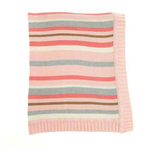 Ziggle bébé réversible blanket en rose et gris à rayures pour nursery lit et pram, peignées coton tricoté, nouveau cadeau bébé