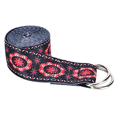 FOLOSAFENAR Cinturón elástico Resistente Impresión de Hebilla de fácil liberación, para Pilates(Printed Stretch Strap Black)