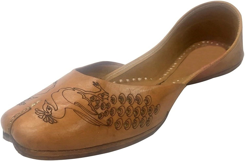 Step n Style Women Casual Plain Ballet Comfort Flat shoes Peacock Artwork Khussa Mojari Brown