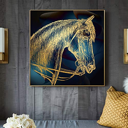 Pintura de caballo dorado, decoración moderna para el hogar, impresiones en lienzo, impresión Giclee impresa, cuadros decorativos modernos para pared, carteles, impresiones 30x30 CM (sin marco