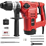 MPT 1500W Heavy Duty Rotary Hammer Drill,3 Function and Adjustabl Soft Grip Handle,Include