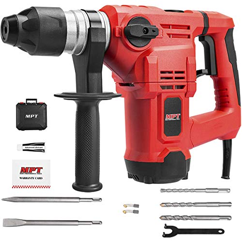MPT 1500W Heavy Duty Rotary Hammer Drill,3 Function and Adjustabl Soft Grip Handle,Include 3 Drill Bits,Point and Flat Chisel with Case
