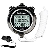 Feiyasi Digital Stopwatch Timer for Basketball, Soccer, Boxing, Shot, Referee,Swim, Workout, Sport, Sports Match, Training, Timing-Including Whistle (black-10 Laps)