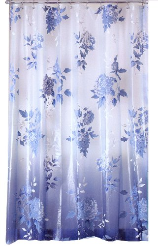 Blue / Purple Chinese porcelin style floral shower curtain