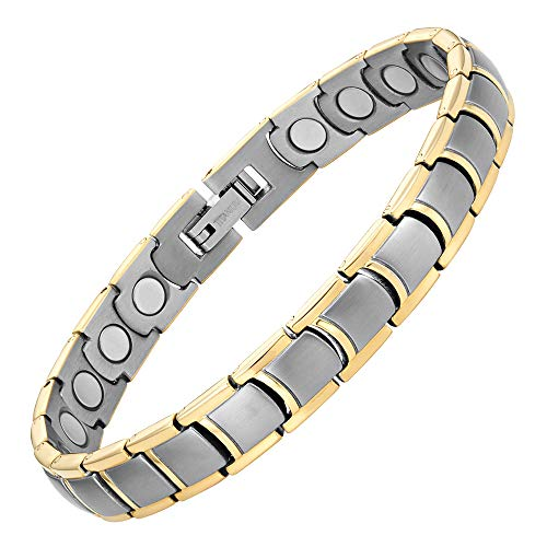 Willis Judd Womens Two Tone Titanium Magnetic Bracelet with Link Removal Tool, 7.5'