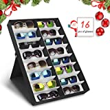 amzdeal Caja para Gafas de Sol Caja de Almacenaje Plegable con Tapa para 16 Anteojos, Caja de Exposicin para Gafas, Joya y Reloj
