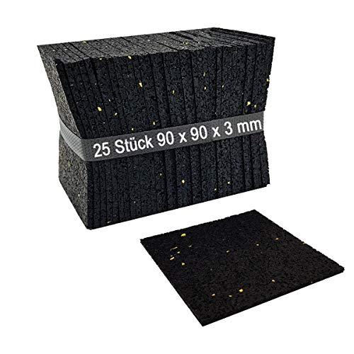 My Plast Lot de 25 3 mm, terrassenpads, terrasses Construction en granulés de Caoutchouc, Noir