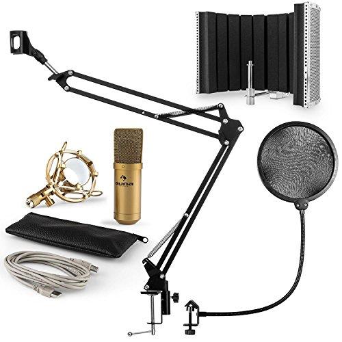 auna MIC-900G -, Mikrofonset V5, Heimstudio-Set, 4-teilig, USB-Kondensatormikrofon, Pop-Schutz, Mikrofonschirm, Mikrofonarm, Mikrofonhalterung, Mikrofonspinne, schwarz-gold