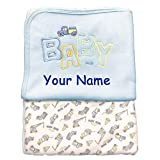 Wonderful Memories Personalized Blue Construction Trucks Fleece Baby Blanket with Custom Name