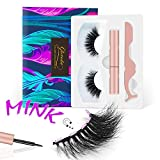 Gorota Magnetic Eyelashes with Eyeliner Kit Natural Look Reusable Waterproof Mink Lashes Luxury Magnetic Lash Set No Glue Needed Eyelash Mirror Box with Tweezers Applicator for Women Valentines Gift(Luxury)