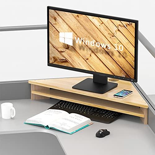 SUNDAY HOME Escritorio Computer Monitor Soporte de Esquina de Madera, 2 Niveles Sólido Monitor Monitor de Madera Riser Escritorio Organizadores Rack Madera Natural (Size : 55CM)