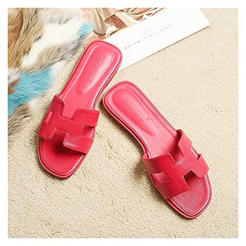 Sandalias planas para mujer Moda para mujer Banda en H Sandalias planas Deslizadores Zapatillas de verano Zapatos de playa ligeros con punta abierta Zapatillas antideslizantes Piscina InteriorExterior