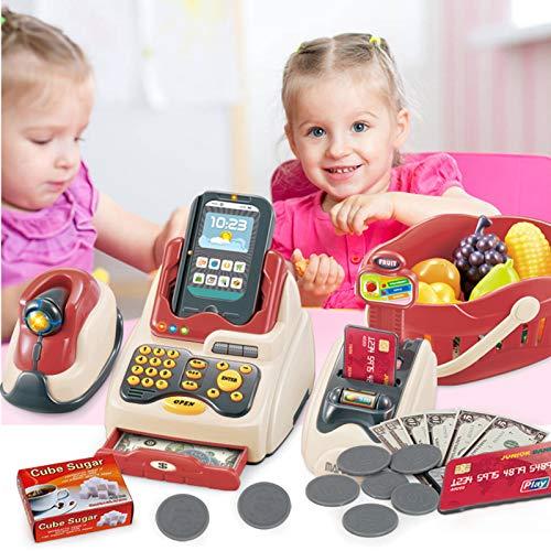 Clenp Accesorios De La Casa De Muñecas - 36Pcs Market Shopping Caja Registradora Máquina De Tarjeta De Crédito Niños Play House Toys