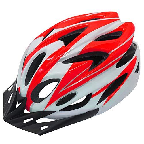 Unisex Rot-Weiß Fahrradhelm Kletterhelm Erwachsene Fahrradhelme Outdoor Sport Radfahren Mountain & Road Fahrradhelme für Männer Frauen, 56~62cm