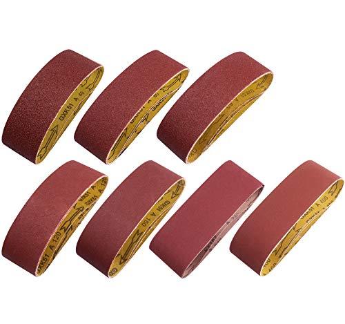 S SATC 3×21 Inch Aluminum Oxide Sander Belt 20 PCS 40/60/80/120/150/240/400 Assorted Grits Sanding Belt Pack