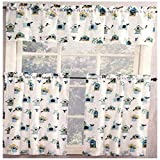 Home Fashions Birds N Birdhouses Kitchen Window Curtain Set 3 Pc