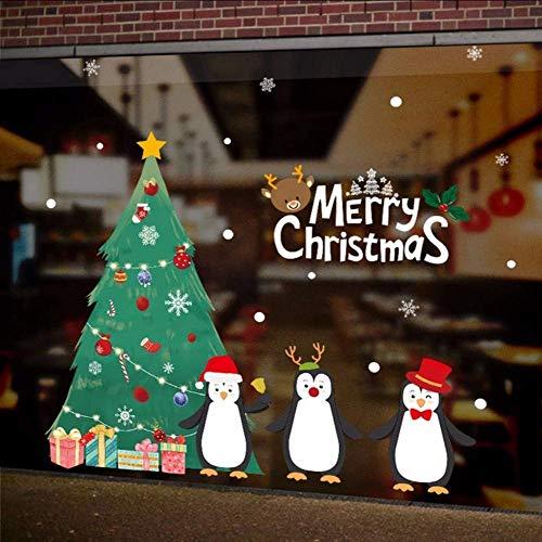 Pinguini Albero Di Natale Fai Da Te Adesivo Murale Vetrofanie Festival Murales Decorazioni Natalizie Per La Decorazione Domestica