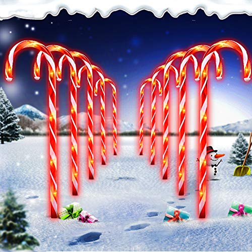 Christmas Candy Cane Pathway Marker Lights,LED Yard Lawn Pathway Markers Outdoor Candy Pathway Markers Christmas Indoor/Outdoor Decoration Lights UL588 Certified,18ft Length (White)