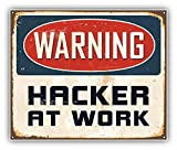 DG Graphics Warning Hacker at Work Vintage Sign Art Decor 5'' x 4'' Vinyl Decal Sticker Wall Window Any Smooth Surface