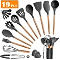 Kitchen Utensils Set Silicone Cooking Utensils - SZBOB 19pcs Kitchen Tools Wooden Handle Spoons Silicone Kitchen Utensil Set with Holder Spatulas Turner Tongs Whisk Kitchen Appliances for Cooking